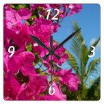 Bougainvillea and Palm Tree Tropical Nature Scene Square Wall Clock
