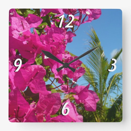 Bougainvillea and Palm Tree Tropical Nature Scene Square Wall Clock