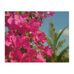 Bougainvillea and Palm Tree Tropical Nature Scene Wood Wall Decor
