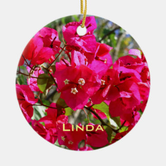 Bougainvillea Double-Sided Ceramic Round Christmas Ornament