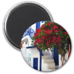 Bougainvillea growing outside a house, Mykonos 2 Inch Round Magnet