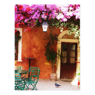 Bougainvillea growing outside a house, Mykonos, Gr Postcard