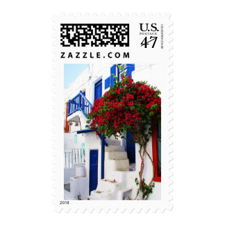 Bougainvillea growing outside a house, Mykonos Postage Stamp