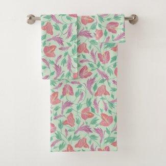 Bougainvillea Mint Tropical Print Bath Towels