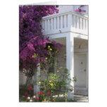 Bougainvillea rosado que crece fuera de una casa,  tarjetas