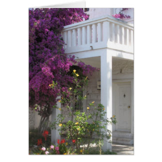 Bougainvillea rosado que crece fuera de una casa tarjetas