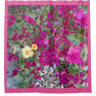 Bouganvilla and Mexican Daisies Shower Curtain