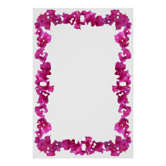 Bouganvilla Border on Blank Background Poster