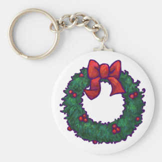 Boughs of Holly Basic Round Button Keychain