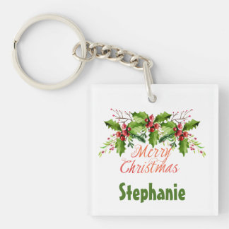 Boughs of Holly Holiday Keychain
