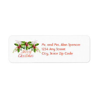 Boughs of Holly Holiday Labels