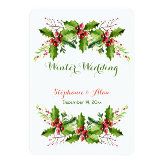 Boughs of Holly Holiday Wedding Card