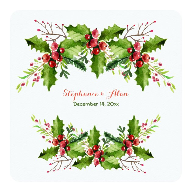 Boughs Of Holly Holiday Wedding Card Zazzle