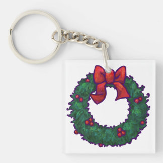 Boughs of Holly Single-Sided Square Acrylic Keychain