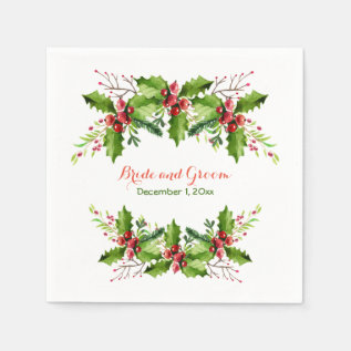 Boughs of Holly Wedding Paper Napkins at Zazzle