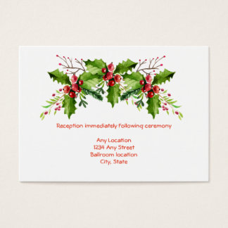 Boughs of Holly Wedding Reception Card