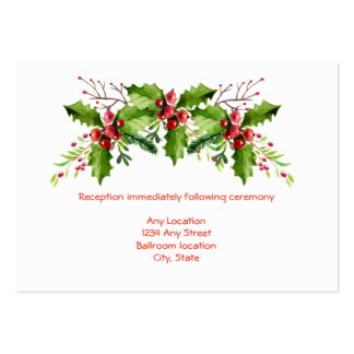 Boughs of Holly Wedding Reception Card Large Business Card
