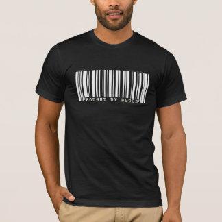Bought by blood Christan bar code t-shirt dark