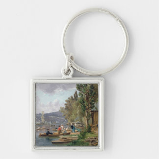 Bougival, 1873 Silver-Colored square keychain