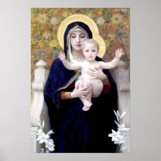 Bouguereau - au Lys de Vierge del La Póster