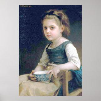 Bouguereau - au menudo Bol Bleu de Fille Impresiones