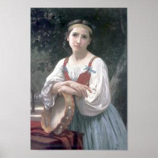 Bouguereau - Bohemienne au Tambour de Basque Poster