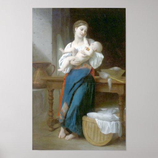 Bouguereau - caricias de las premiers póster