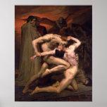Bouguereau-Dante y Virgil en infierno Posters