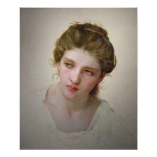 Bouguereau - Étude de Tête de Femme Blonde de Face Poster