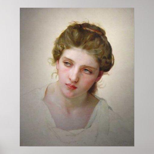 Bouguereau - Étude de Tête de Femme Blonde de Face Póster