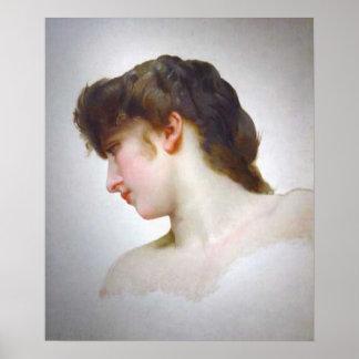 Bouguereau - Étude de Tête de Femme Blonde Profil Poster