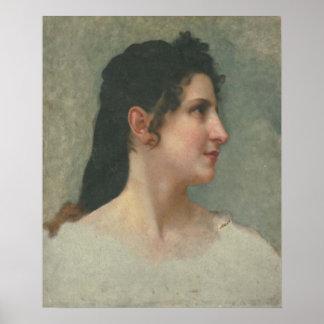 Bouguereau - Etude de Tête de Femme Brune Profil Impresiones