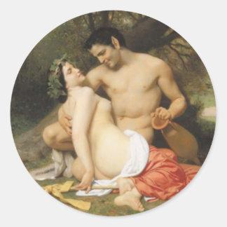 Bouguereau - Faune et Bacchante Round Stickers