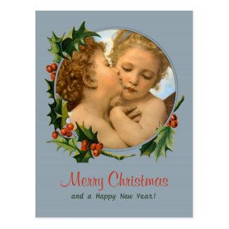 Bouguereau First kiss children CC0043 Christmas Postcard