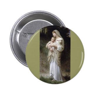 Bouguereau Innocence Lady Child Lamb Pinback Button