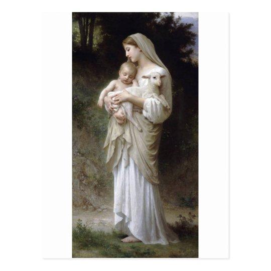 Bouguereau Innocence Lady Child Lamb Postcard
