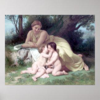 Bouguereau - Jeune Femme Contemplant Deux Enfants Póster
