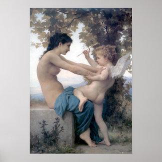 Bouguereau - Jeune Fille se Defendant contre Eros Poster