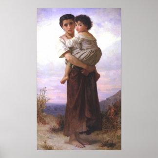 Bouguereau - Jeune Fille Tenant un Enfant Posters