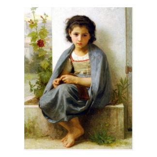 Bouguereau la pequeña postal del calcetero