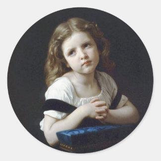 Bouguereau - La Prière Classic Round Sticker
