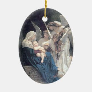 Bouguereau - La Vierge aux Anges Double-Sided Oval Ceramic Christmas Ornament