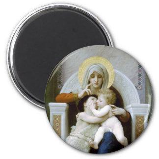 Bouguereau - La Vierge, L'Enfant Jésus et Saint Je 2 Inch Round Magnet