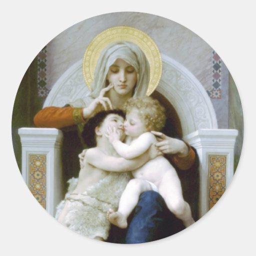 Bouguereau - La Vierge, L'Enfant Jésus et Saint Je Classic Round Sticker
