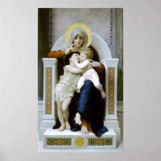 Bouguereau - La Vierge, L'Enfant Jésus et Saint Je Poster