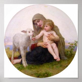Bouguereau - La Vierge un L'Agneau Póster