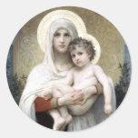 Bouguereau Madona con la religión del cristianismo Pegatina Redonda