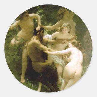 Bouguereau - Nymphes y Satyre Pegatina Redonda