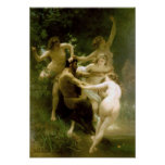 Bouguereau - Nymphes y Satyre Poster