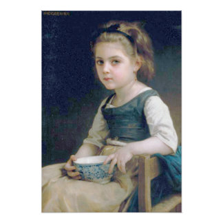 Bouguereau - Petite Fille au Bol Bleu Posters